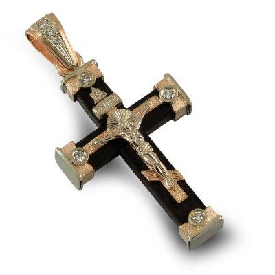 Крест из белого и красного золота с бриллиантами на черном дереве