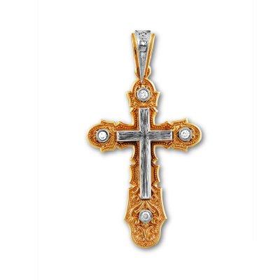 Золотой крест со вставками из белого золота с бриллиантами