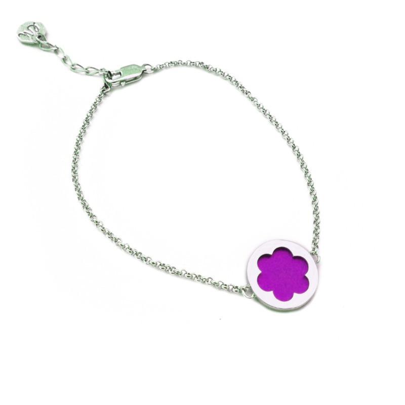 Серебряный браслет женский розовый (маджента)