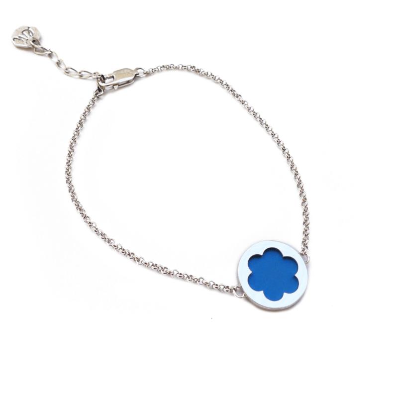 Серебряный браслет женский голубой (лазурь)