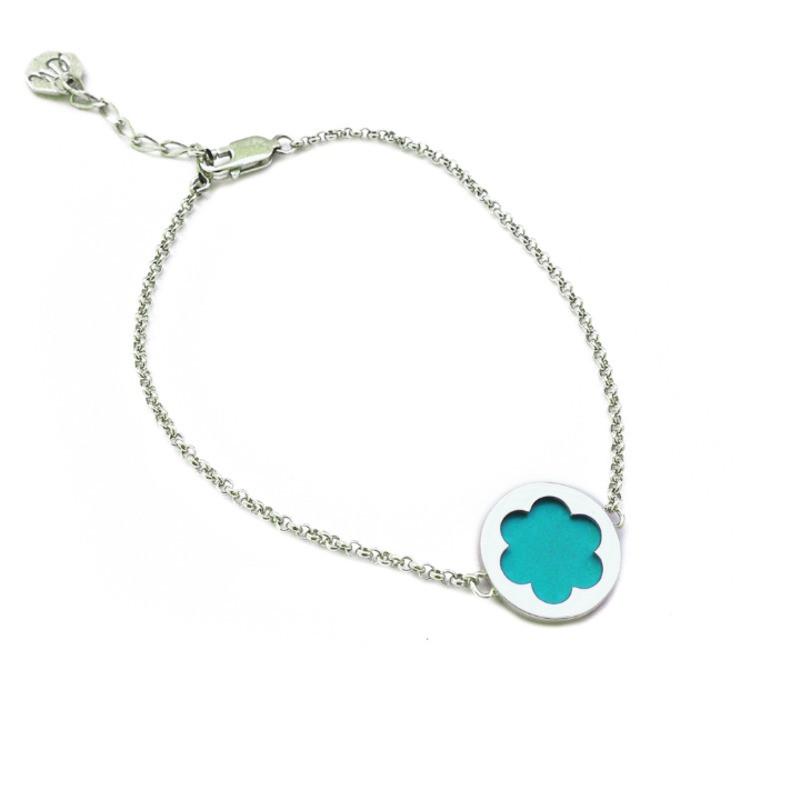Серебряный браслет женский зелёный (аквамарин)