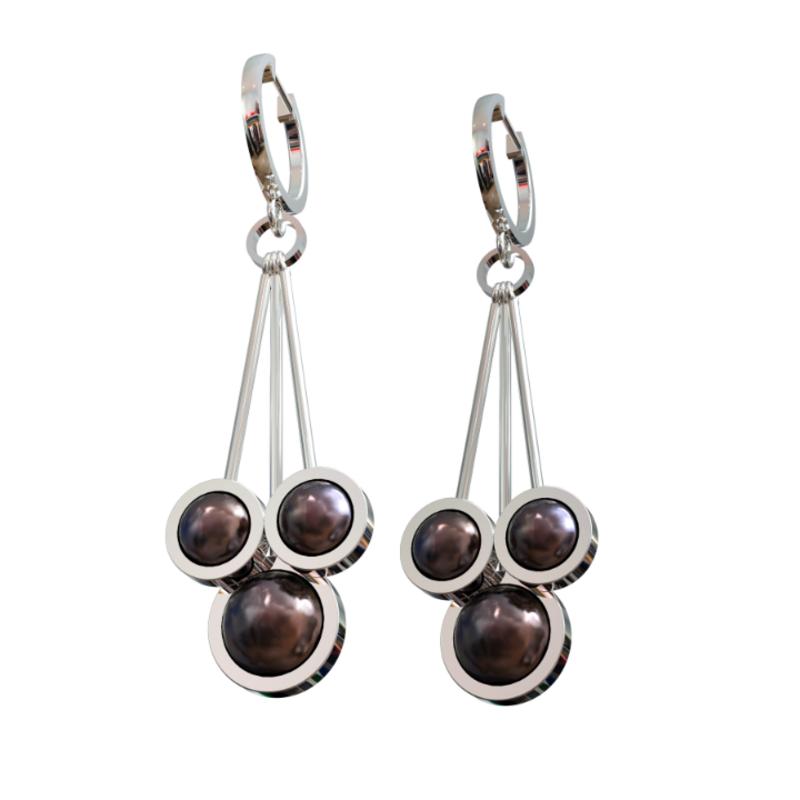 Серебряные серьги с чёрным жемчугом