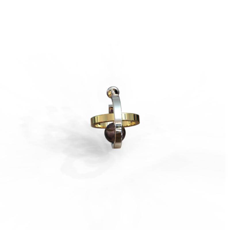 Серебряная серьга пусета с чёрным жемчугом