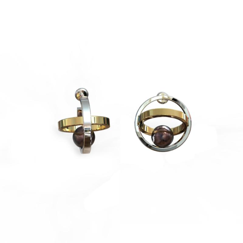 Серебряные серьги пусеты с чёрным жемчугом