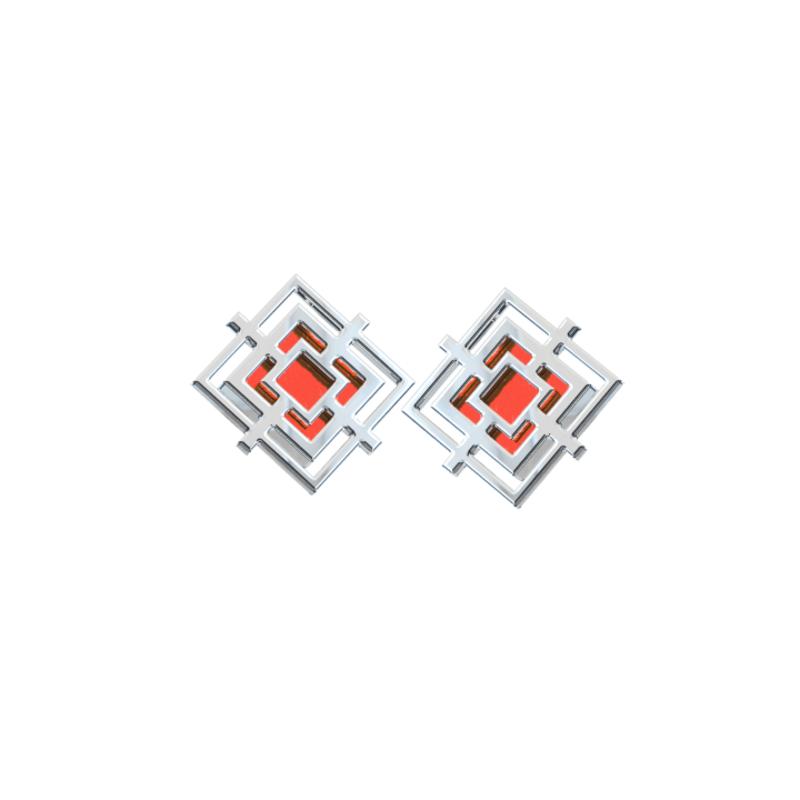 Квадратные серебряные серьги пусеты красные