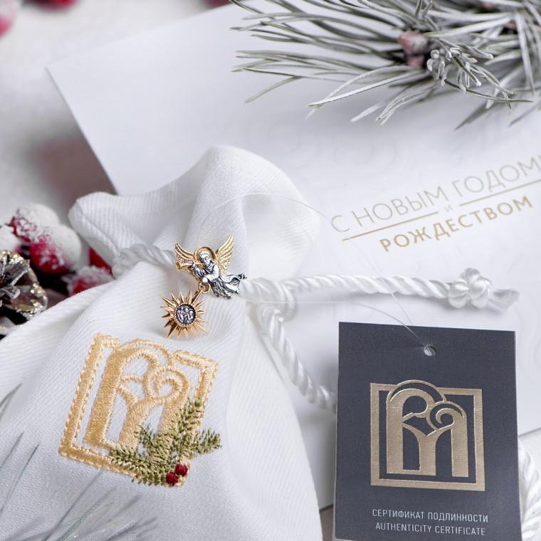 """Подарочный набор с серебряной подвеской  """"Рождественский ангел"""", покрытой золочением"""