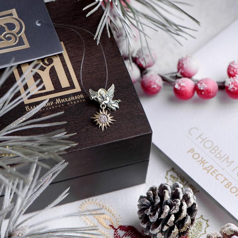 """Подарочный набор с подвеской  """"Рождественский ангел"""" из золота 585 пробы."""