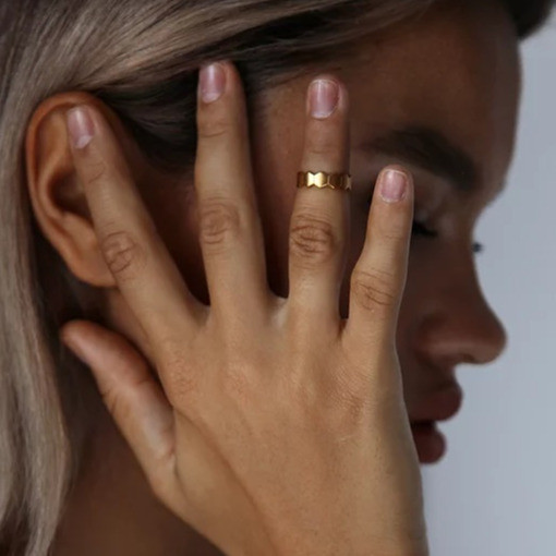 Фаланговое кольцо Hexagon матовое золото