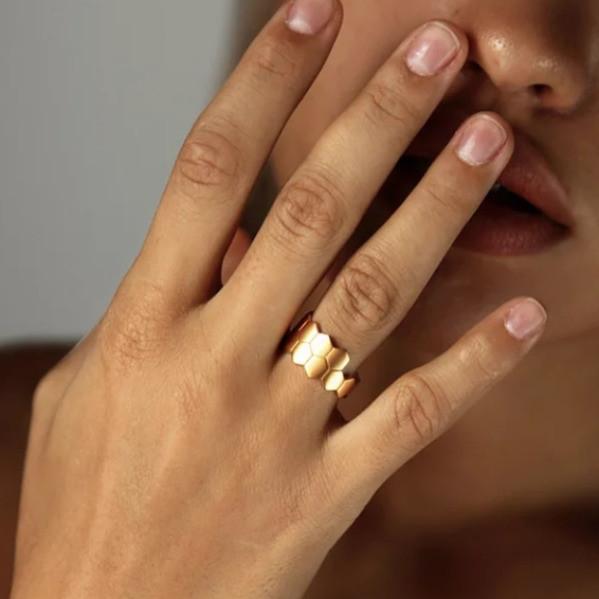 Двойное кольцо Hexagon матовое золото