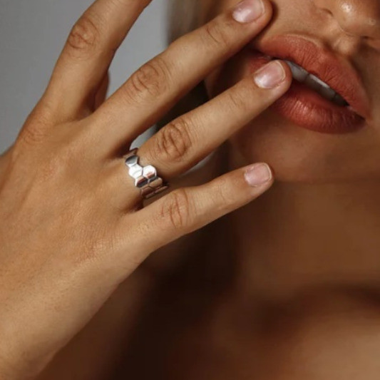 Двойное кольцо Hexagon глянцевое серебро