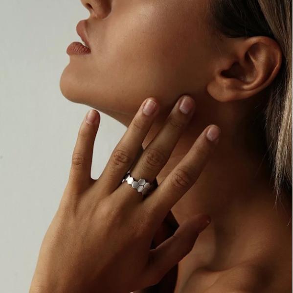 Двойное кольцо Hexagon матовое серебро